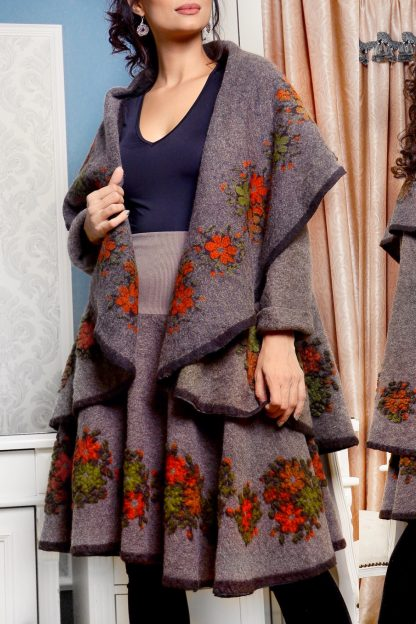 Set compus din poncho si fusta din lana - gri maroniu