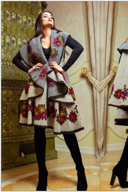 Set compus din vesta si fusta din lana bej