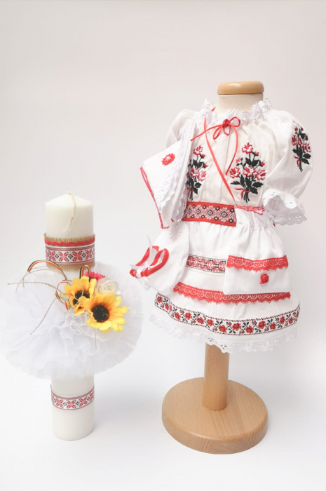 Set Traditional Botez Costumas fetita Lumanare 3