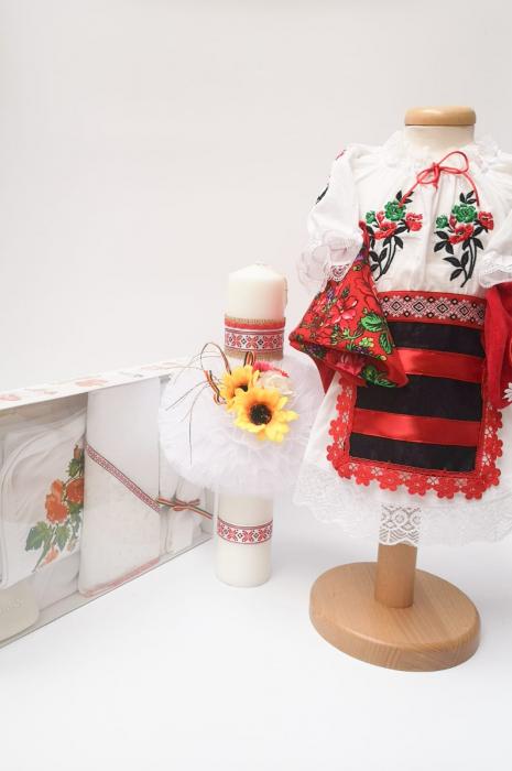 Set Traditional Botez Costumas fetita Trusou Lumanare