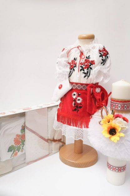 Set Traditional Botez Costumas fetita Trusou Lumanare 3