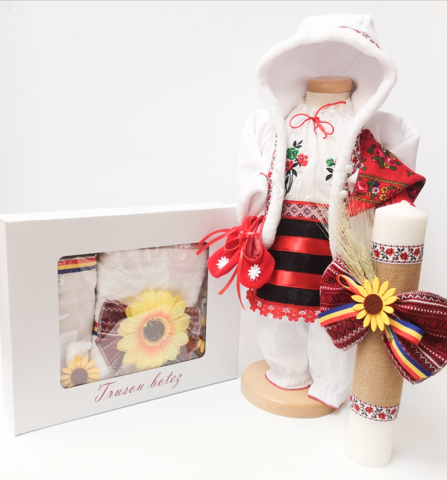 Set Traditional Botez Costumas fetita Trusou Lumanare 5