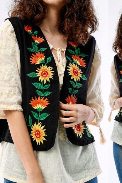 Vesta din bumbac brodata - Floarea Soarelui