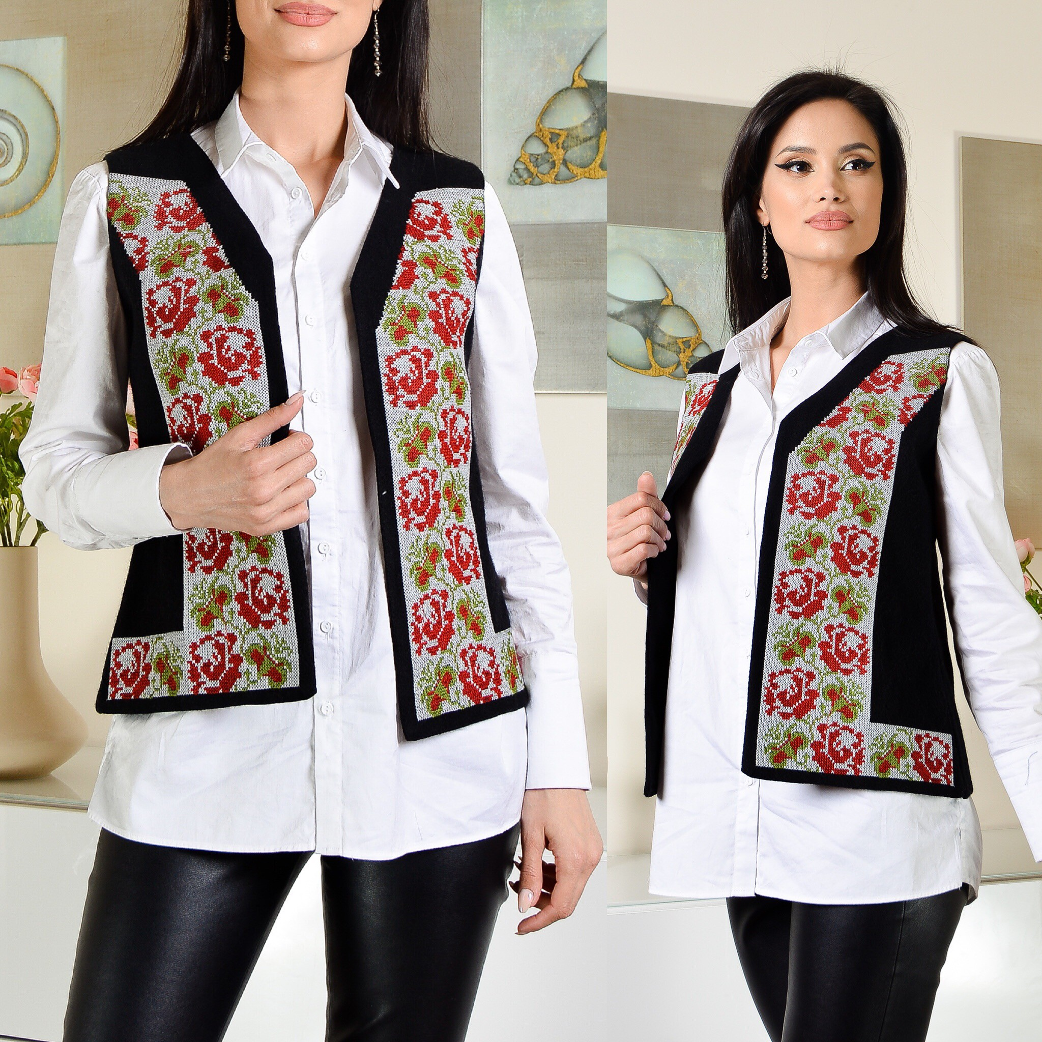 Vesta traditionala cu model floral brodat - Ecaterina